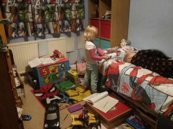 could see that both bedrooms were worse mess